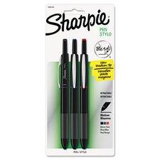 Porous Point Retractable Permanent Water Resistant Pen (3 Pack)