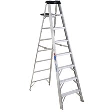 8 ft Aluminum Step Ladder with 300 lb. Load Capacity