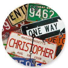 Personalized License Plate Round Clock