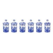 Blue Italian Spice Jar (Set of 6)