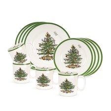 Christmas Tree 12 Piece Dinnerware Set