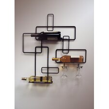 3 Bottle Wall Mount Wine and Glass rack