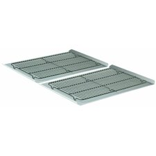 "4 Piece 19"" Nonstick Cookie Sheet and Cooling Rack Set"