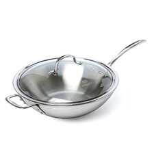 "Tri-Ply Stainless Steel 12"" Stir Fry & Cover"
