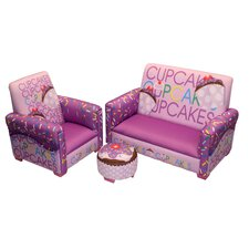 Cup Cake Collection Lavender Toddler Sofa, Club Chair and Ottoman Set