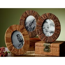 Kindwer 3 Piece Rustic Tree Bark Wood Oval Picture Frame Set