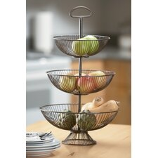 Kindwer Three-Tier Decorative Wire Basket Stand