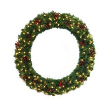 "48"" Lighted Multi Tip Semi Decorated Wreath"