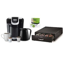 Keurig 2.0 K350 Brewing System with Under Brewer Storage Drawer and Mountain Breakfast Blend K-Cups