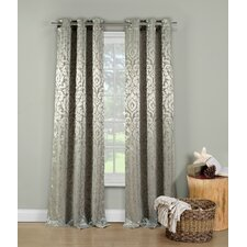 Allia Metallic Jacquard Grommet Curtain Panel (Set of 2)