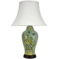 "Birds and Flowers 24.5"" H Table Lamp with Bell Shade"