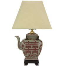 """Chinese Teapot 17"""" H Table Lamp with Empire Shade"""