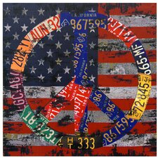 American Flag Peace Graphic Art on Canvas
