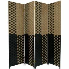 "70.75"" x 70"" Woven Fiber 4 Panel Room Divider"