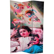 """72"""" x 64"""" Double Sided Magical Dreams 3 Panel Room Divider"""
