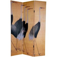 """72"""" x 48"""" Double Sided Cranes 3 Panel Room Divider"""