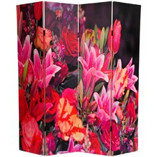 "70.88"" x 63"" Spring Flowers 4 Panel Room Divider"