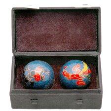 2 Piece Dragons and Phoenix Health Decorative Ball Sculpture Set