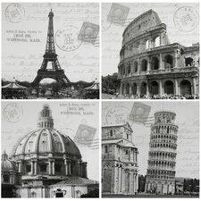 Iconic Europe 4 Piece Graphic Art on Canvas Set