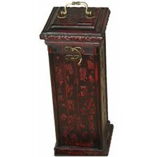 Square Calligraphy Wine Box in Black and Red Matte Lacquer