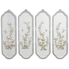 4 Piece Birds and Flowers Curved Wall Décor Set