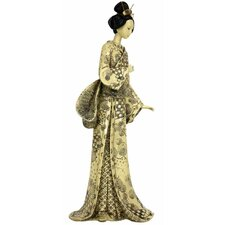 Geisha With Nature Symbols Kimono Figurine