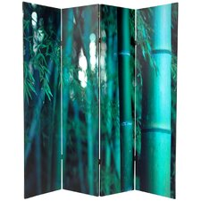 "70.88"" x 63"" Bamboo Tree Double Sided 4 Panel Room Divider"