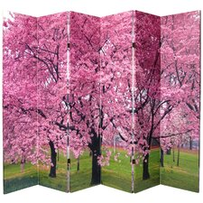 "70.88"" x 94.5"" Double Sided Cherry Blossom 6 Panel Room Divider"