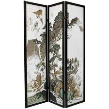 """72"""" x 42"""" Asian Landscape 3 Panel Room Divider"""