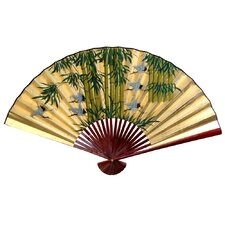 Gold Leaf Bamboo and Cranes Fan Wall Décor