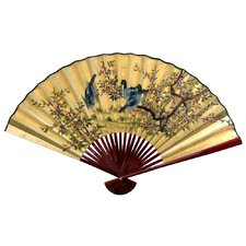 Gold Leaf Birds and Flowers Fan Wall Décor
