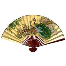 Gold Leaf Peacocks Fan Wall Décor