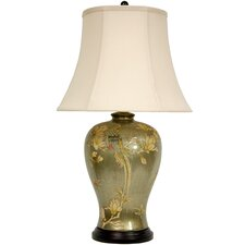 "Birds and Flowers 28"" H Table Lamp with Bell Shade"