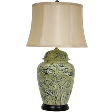 "Birds and Flowers 25"" H Table Lamp with Bell Shade"