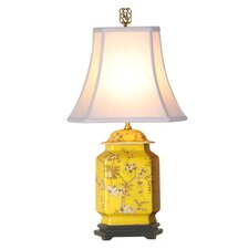 """Birds and Flowers Jar 21"""" H Table Lamp with Bell Shade"""