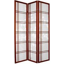 "72"" x 42"" Bamboo Tree Double Cross Shoji 3 Panel Room Divider"