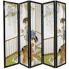 "72"" x 70"" Geisha Shoji 5 Panel Room Divider"