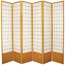 "83.5"" x 84"" Window Pane Shoji 6 Panel Room Divider"