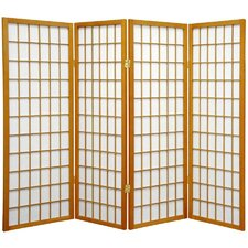 "48"" x 57"" Window Pane Shoji 4 Panel Room Divider"