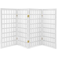"35.75"" x 57"" Window Pane Shoji 4 Panel Room Divider"