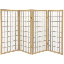 "35.75"" x 57"" Window Pane Shoji 4 Panel Room Divider"