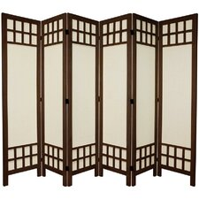 "67"" Tall Window Pane Fabric 6 Panel Room Divider"