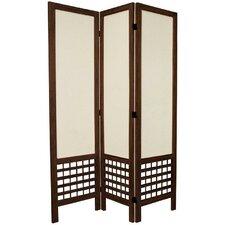"67"" Tall Open Lattice Fabric 3 Panel Room Divider"