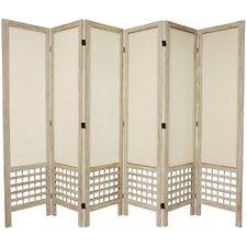 "67"" Tall Open Lattice Fabric 6 Panel Room Divider"
