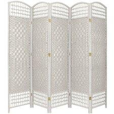"67"" Tall Fiber Weave 5 Panel Room Divider"