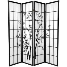 "70.25"" x 57"" Lucky Bamboo 4 Panel Room Divider"