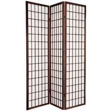 "70"" x 51"" Window Pane Shoji 3 Panel Room Divider"