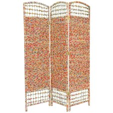 "67"" x 47.25"" Recycled Magazine 3 Panel Room Divider"