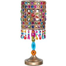 "Jewel Flower 19"" H Table Lamp with Drum Shade"