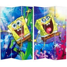 "71"" x 47.25"" Tall Double Sided SpongeBob SquarePants 3 Panel Room Divider"